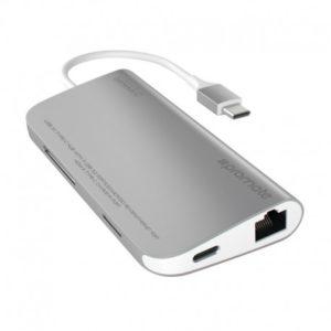 Promate coreHub-C USB 3.1 Type-C με Δυνατότητα Φόρτισης, 4K HDMI, Ethernet, SD & MicroSD  και USB 3.0 8-σε-1 - Ασημί