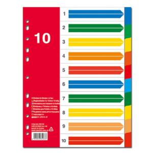 Διαχωριστικά Πλαστικά Α4 10 Θέσεων Χρωματιστά